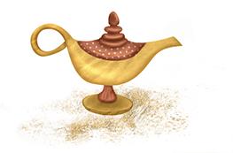 Golden schimmert sie - Aladdins Wunderlampe, ob wohl Dschinni erscheint?