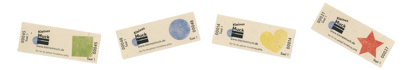 """Eintrittskarten für das Kinderkino """"Kleines Muck"""" - mit einfachen, kindergerechten Symbolen: ein Quadrat, Kreis, Herz und Stern"""
