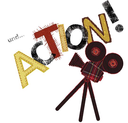 Film ab - geschrieben steht: und... action - daneben eine Kamera, alles eine Collage aus Stoffen und unterschiedlicher Materialien. Die Typografie ist sehr verspielt, das T hat Haare, teilweise sind die Buchstaben genäht und mit Linoldruck hergestellt.