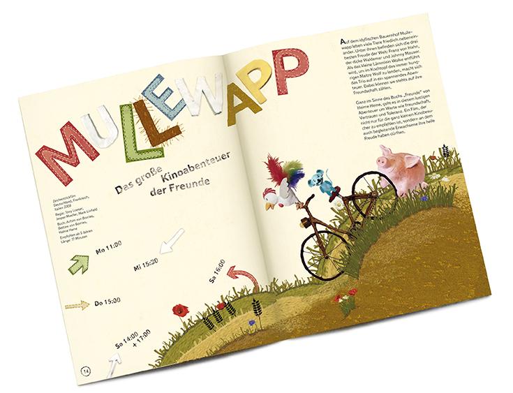 Eine Illustration der Drei Freunde, Hahn, Maus und Schwein: Sie sitzen auf einem Fahrrad und fahren einen Berg hinab.