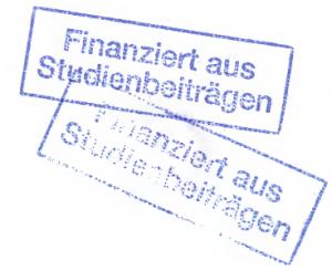 """Finanziert aus Studienbeiträgen Stempelabdrücken - aus diesen besteht das Plakat """"Verstempelt"""""""