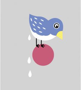 Illustration kackender Vogel