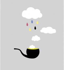 Illustration Pfeife mit Wolken