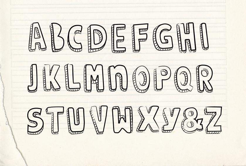 Handgezeichnetes Alphabet