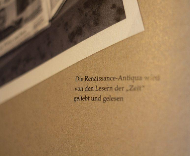 Macroaufnahme Text Renaissance Antiqua