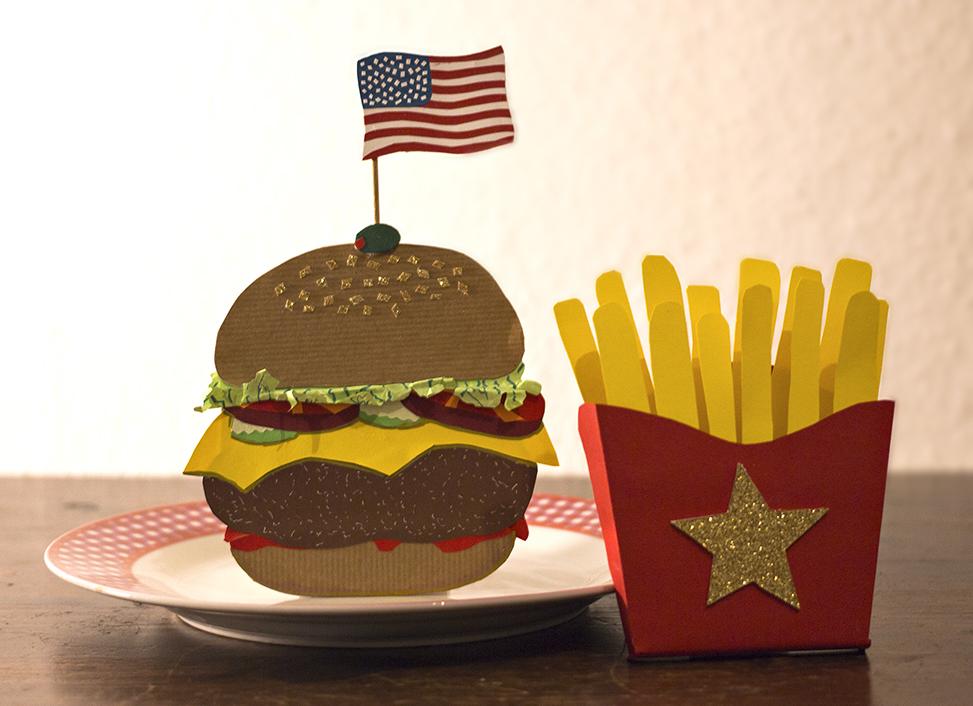Burger und Pommes aus Papier