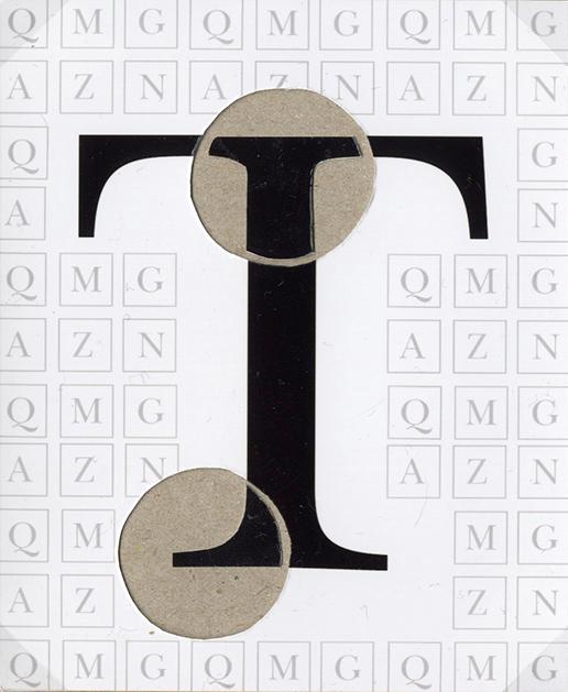 Ein T umrahmt von weiteren Buchstaben