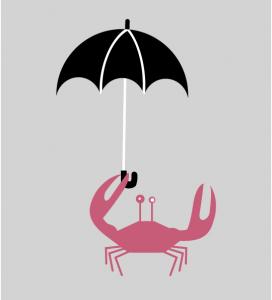 Illustration Krabbe mit Schirm