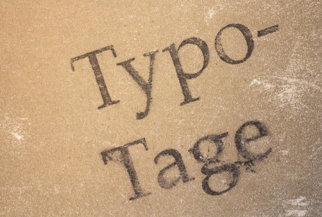 Schriftzug Typotage Acetondruck
